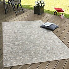 In- & Outdoor Flachgewebe Teppich Terrassen Teppiche Mit Farbverlauf In Beige, Grösse:80x200 cm