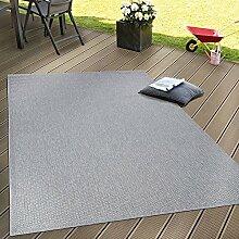 In- & Outdoor Flachgewebe Teppich Terrassen Teppiche Natürlicher Look In Grau, Grösse:200x280 cm