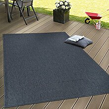 In- & Outdoor Flachgewebe Teppich Terrassen Teppiche Natürlicher Look Navy Blau, Grösse:80x150 cm