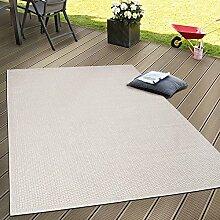 In- & Outdoor Flachgewebe Teppich Terrassen Teppiche Natürlicher Look In Beige, Grösse:120x160 cm