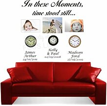 In These Moments Time Stand immer noch DB Art Wand Married Familie Kinder Aufkleber, Vinyl, 70cm