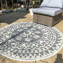In- und Outdoor Teppich rund Ø 150 cm Muster Teppiche Terrasse Balkon wetterfes