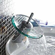 Inchant Moderne Wasserfall Glasauslauf Einhand Badezimmer Eitelkeit Waschbecken Wasserhahn Chrom poliert Becken Badezimmer Mischbatterien, Einloch Deck montieren,Alle Kupfer-Material