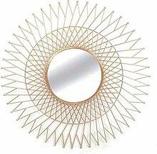 Inconnu Wandspiegel in Sonnenform, rund, aus Metall, kupferfarbig