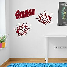 Incredible Hulk Fäusten Smash Marvel Superhero Kinder Hände Wand Dekorationen Fenster Aufkleber Wall Decor Sticker Wall Art Aufkleber Sticker Wand Aufkleber Aufkleber Wandbild Décor DIY Deco Abnehmbare Wandaufkleber Colorful Aufkleber 06 - Burgundy