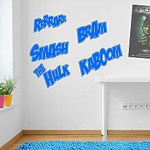 Incredible Hulk Worte Marvel Superhero Kinder Hände Wand Dekorationen Fenster Aufkleber Wall Decor Sticker Wall Art Aufkleber Sticker Wand Aufkleber Aufkleber Wandbild Décor DIY Deco Abnehmbare Wandaufkleber Colorful Aufkleber 13 - Light Blue