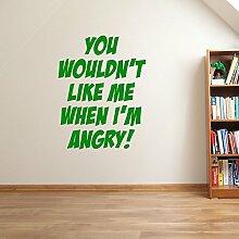 Incredible Hulk Zitat Marvel Superhero Kinder Hände Wand Dekorationen Fenster Aufkleber Wall Decor Sticker Wall Art Aufkleber Sticker Wand Aufkleber Aufkleber Wandbild Décor DIY Deco Abnehmbare Wandaufkleber Colorful Aufkleber, Vinyl, 11 - Green, Large 58cm (W) 74cm (H)