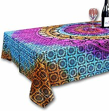INDIA ARTS Tischdecke aus Baumwolle, Elefant,