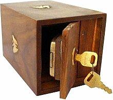 Indiabigshop Vater tag Geschenk Handarbeit aus Holz Spardose Tresor Piggy Bank für Mädchen und Jungen 12,5 X 10 X 15 cm, Square Style