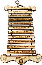 Indiabigshop Vater tag Geschenk Holz Zehn Gebote Kiefer Holz Wandbehang