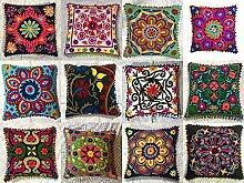 Indian Designer Home Decor Floral Cotton Pillow