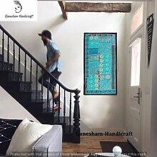 Indian Hand bestickt dekorative Wand Art Home Decor Baumwolle Wandteppichen, Kopfteil, Tischläufer, Tapisserie, Tischdecke, indische Patchwork Vintage