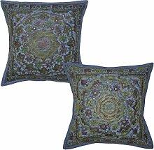 Indian Hand Stickerei Spiegel Arbeit Design Traditionelle Baumwolle Kissenbez