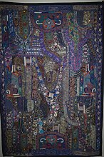Indian handgefertigt bestickt Patchwork Old Art Wand Vintage Wandteppich, baumwolle, Royal Blue Patch Work, 40 X 60 Inches
