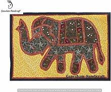 Indian handgefertigt Einzigartige Tischläufer Ethnic Baumwolle Tischdecke Hand bestickt Vintage Wandbehang Elefant Patchwork Wand Decor
