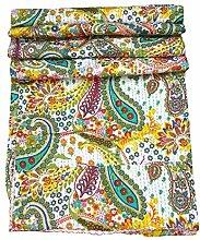 Indian handgefertigt Paisley gedruckt Kantha Quilt, Twin Größe Kantha Betten, indische Baumwolle Tagesdecke, Bohemian Kantha Werfen, Floral Bett Cover, Home Decor Ralli, Vintage Gudri, 152,4x 228,6cm. Von bhagyoday