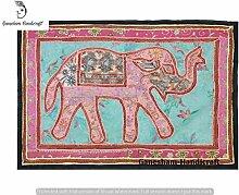 Indian handgefertigt Vintage Elephant Patchwork Wandbehang Home Decor Wall Art Tischläufer Tischdecke Hand bestickt Tapisserie Old Vintage Fenster Volants