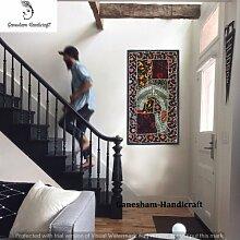 Indian handgefertigt Wandteppichen Vintage Hippie Bohemian Home Decor Patchwork Wandteppichen, Kopfteil, Hand bestickt Vintage Tapisserie, Tischläufer