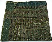 Indian King Size Traditionelle Home Deco Kantha ajrakh Steppdecke, handgefertigt kantha Print ajrakh Überwurf Decke