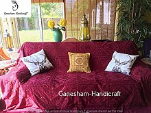 Indian Mirror Work Bett Spread Vintage Sofa Cover