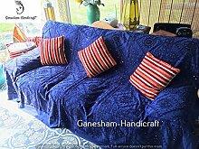 Indian Mirror Work Bett Spread Vintage Sofa Cover