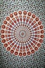 Indian Peacock Mandala Wandteppich, indisches Wand