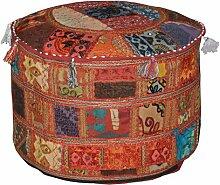 Indian Pouf Hocker Jahrgang Patchwork verschönert mit Patchwork-Wohnzimmer osmanischen Cover, 58 x 33 cm