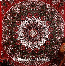 Indian Queen Star Mandala Psychedelic Wandteppich, Motiv Sonne und Mond Gobelin, Hippie Bohemian Wandbehang Gobelin, Tagesdecke Bettwäsche Bett, Ethnic Home Decor 86x 94von bhagyoday