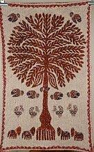 Indian Tree Of Life Tapisserie, Überwurf Vintage Patchwork Tischdecke, Boho Tischläufer, 86,4x 147,3cm.