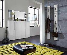 INDIANAPOLIS 2 Garderoben Set Weiß Hochglanz