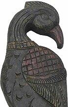 Indianshelf aus Holz handgefertigte Peahen Wanduhr Statue Dekoration Designer Erklärung Vintage Stück Online Neue