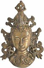 Indianshelf handgefertigt Messing Tibetische Buddha Gesicht Wanduhr Statue Dekoration Designer Erklärung Vintage Stück Online Neue