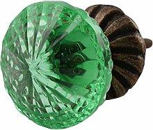 Indianshelf handgefertigt Set of 2 Glas Olive grün Schrank Knöpfe Tür zieht Schublade Griff