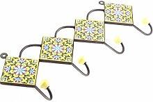 IndianShelf handgemachte gelbe Türkis kleine Blume Fliesen Keramische Wand Haken Tuch Mäntel Kleiderbügel Schlüssel Zubehör Inhaber Online
