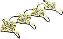 IndianShelf handgemachte gelbe Türkis Rad Blume Fliesen Keramische Wand Haken Tuch Mäntel Kleiderbügel Schlüssel Zubehör Inhaber Online