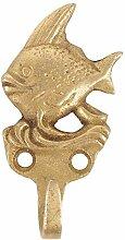 IndianShelf Handmade 4 Stück Fisch Wappen Messing