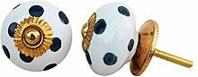 Indianshelf Handmade 4 Stück Keramik weiß Dunkelgrau Polka gepunktete Schublade Knöpfe Schrank Kommode Schrank Tür zieht Schrank Online Neue