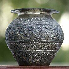 Indianshelf Handmade Pot von Messing Statue Dekoration Designer Erklärung Vintage Stück Online Neue