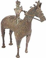 Indianshelf Handmade Tribal Messing Reiten Statue Dekoration Designer Erklärung Vintage Stück Online Neue