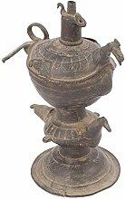 Indianshelf handwerkliche Traditionell-Messing Peacock Öl Lampe Statue Dekoration Designer Erklärung Vintage Stück Online Neue