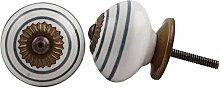 Indianshelf Knöpfe Handmade 10 Stück Keramik Dunkelgrau gestreiften Schubladenschrank Kommode Schrank Tür zieht Schrank Online Neue