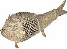 Indianshelf Kunsthandwerk von Messing Dhokra Kunst Statue von Fisch Dekoration Designer Erklärung Vintage Stück Online Neue