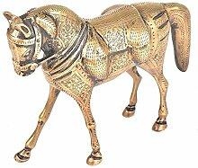 Indianshelf stehend handgefertigte Messing fein graviert a Pferd Statue Skulptur Dekoration Designer Erklärung Vintage Stück Online Neue