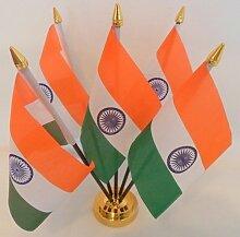 Indien indischen 5Flagge Desktop Tisch mit Gold Boden