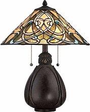 Indien Lampe, kaiserliche Bronze und Tiffany Glas