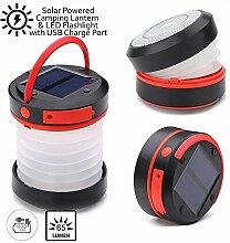 indigiâ ® Solar Powered Camping Laterne & Taschenlampe mit USB Notfall Aufladen Port | 1800mAh Kapazität | klappbar Design | 2Helligkeitsstufen | SOS Blinkmodus