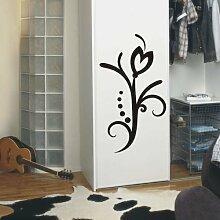 Indigos 4051095112754 Wandtattoo/Wandaufkleber - f3 abstraktes Design/filigranes Pflanzentribal mit schöner Blüte und Kreisen, Vinyl, schwarz, 120 x 67 cm