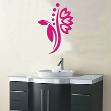 INDIGOS 4051095114451 Wandtattoo / Wandaufkleber - f5 abstraktes Design Tribal / filigrane Pflanze mit schönen Blüten und kleinen Punkten, Vinyl, rosa, 40 x 28 cm