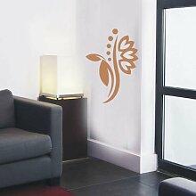 INDIGOS 4051095114482 Wandtattoo / Wandaufkleber - f5 abstraktes Design Tribal / filigrane Pflanze mit schönen Blüten und kleinen Punkten, Vinyl, hellbraun, 40 x 28 cm