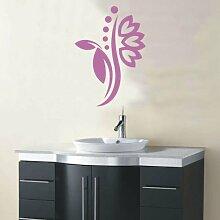 INDIGOS 4051095114499 Wandtattoo / Wandaufkleber - f5 abstraktes Design Tribal / filigrane Pflanze mit schönen Blüten und kleinen Punkten, Vinyl, flieder, 40 x 28 cm